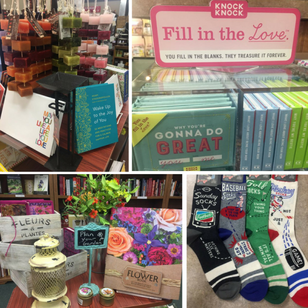 Clockwise from top left:  display with candles and inspirational books, Fill in the Love books, socks, and gardening display
