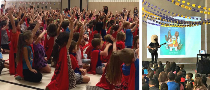 Left: kids in red capes raising their hands during an author visit assembly. Right: Kevin Sherry in Bigfoot headpiece playing guitar in front of slideshow for students sitting on floor.