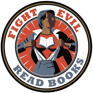 fight evil read books enamel pin