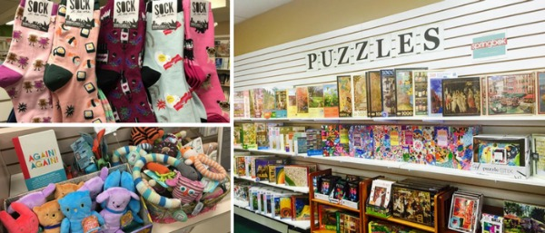 Clockwise from upper left:  socks, puzzles, and newborn toys and books display