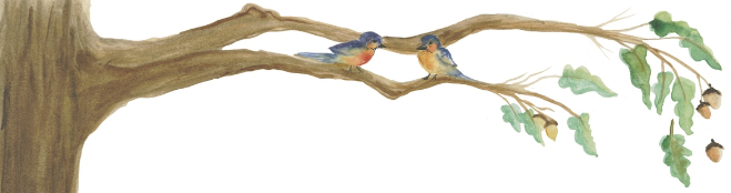 Watercolor painting of a tree branch with two birds by Joy Cagnata