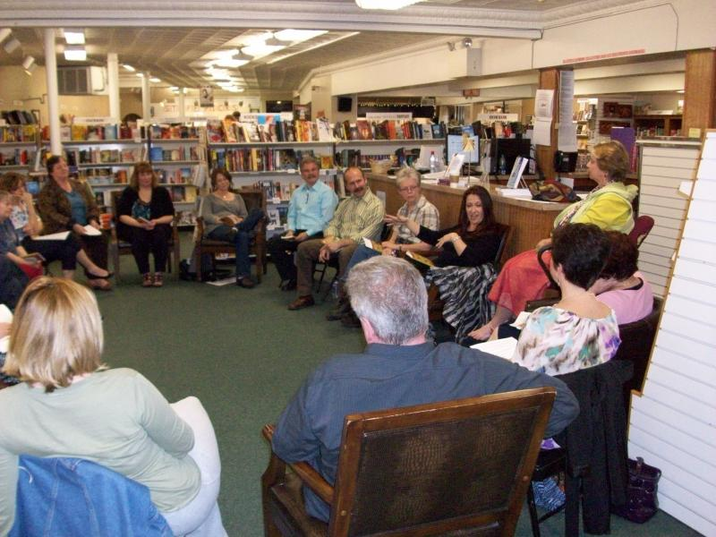 Book club sitting in circle in discussion at The Doylestown Bookshop