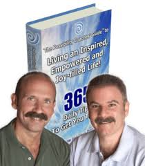 Headshots of Jon and Chris in front of their book, Living an Inspired, Empowered, and Joy-Filled Life!